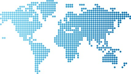 Aluminium Prints World Map World map of blue round dots