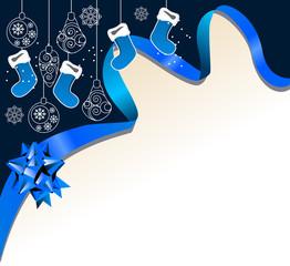 Christmas greeting card with hanging Santa socks