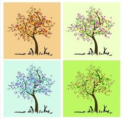 Jahreszeiten Baum für Frühling Sommer Herbst und Winter
