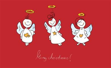 3 Engel z uWeihnachten auf Rot mit Text