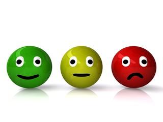 Smileys grün gelb rot