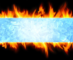 abstract blue ice cube and fire flame background