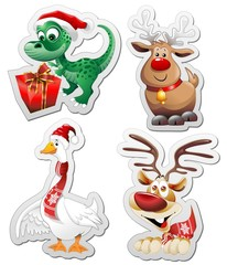 Animali Natale Adesivi Sticker Christmas Animals Icons-Vector