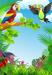 Printed roller blinds Parrot Birds in the tropical forest