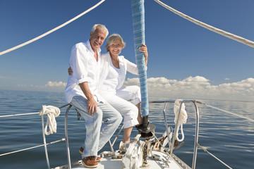 Happy Senior Couple on a Sail Boat