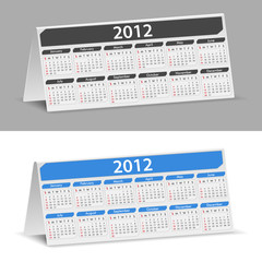 Vector Desk Calendar for 2012 year, transparent shadow