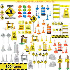 Under Construction Sign Collection.almost 100 icon