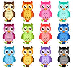 Wall Murals Owls cartoon A colorful Theme of cute vector Icons: Night Owls on white