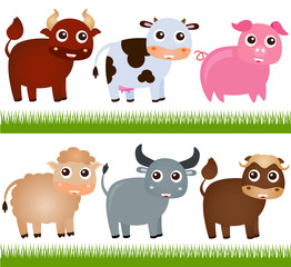 Poster Ranch A colorful Theme of cute vector Farm Animals, on white