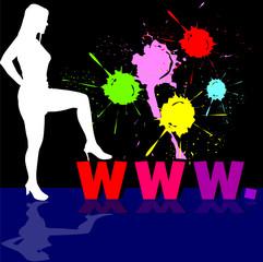 girl white silhouette and internet address illustration