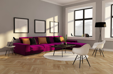 Fresh Minimal design interior red sofa, carpet rendering