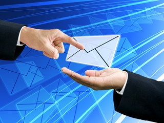 Businessman's hand point the email from sender