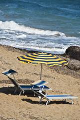 Italien - Sizilien - Liegen am Strand