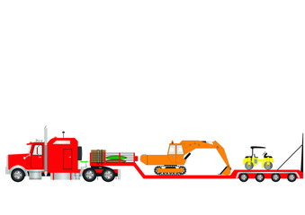 Red Lowloader Truck Excavator and Road Roller