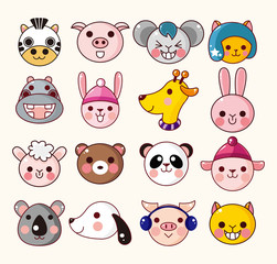 cartoon animal face icons