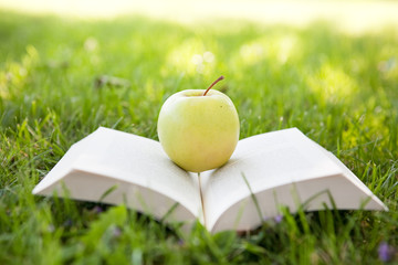 Open book and apple on tre grass