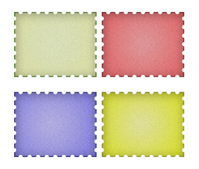 set of empty post stamps on a white background