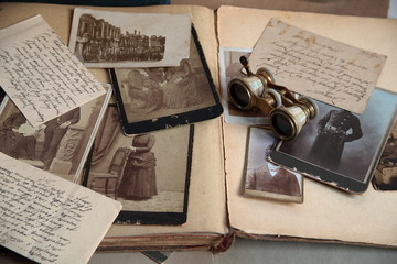 Old photos.potcard and book.