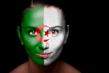 Portrait of a woman with the flag of the Algeria