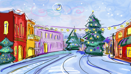 winter scenery   with illustrated city in the night