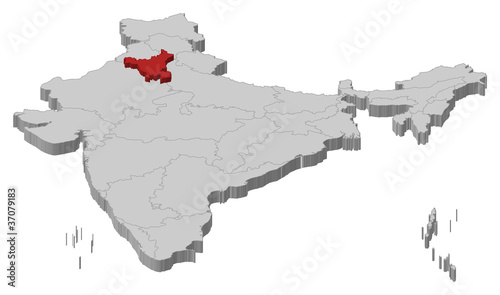Haryana India Map.Map Of India Haryana Highlighted Stock Image And Royalty Free