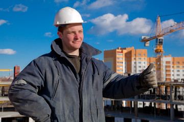 Construction Foreman Worker giving okay sign hand gesture