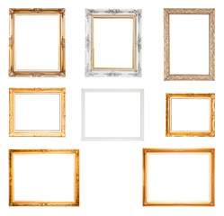 Collection Set of picture frame, isolated with clipping path