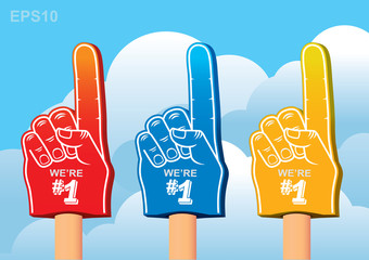 color set of foam hand