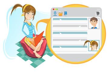 Online Social Media Girl Chatting