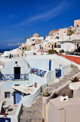 Typical view on the island of Santorini - Greece