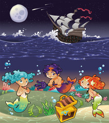Autocollant pour porte Mermaid Baby Sirens under the sea.Vector illustration.