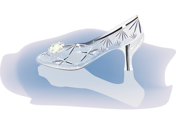 crystal shoe with reflection illustration
