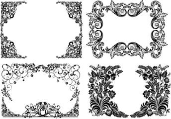 four black curled frames