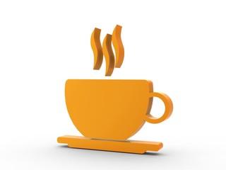 3d Icon Kaffee orange