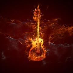 Acrylic Prints Flame Gitarre Feuer
