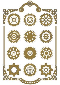 Steampunk, set of retro styled gear wheels