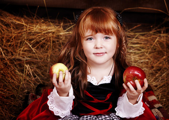Little Red Riding Hood with apples