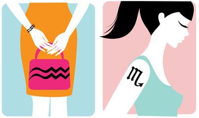 Set of modern illustrated horoscope zodiac signs