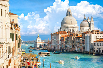 Photo sur Aluminium Venise Venice, view of grand canal and basilica of santa maria della sa
