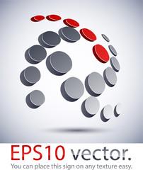 3D modern spiral logo icon.