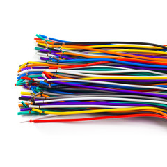 colored network wires isolated on white background