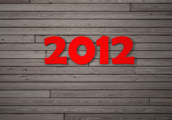 New year 2012 on wooden wall