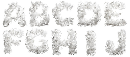 Alphabet made of feathers