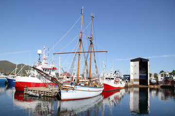 Vessels, fishing boats and  shipyard of Lofoten