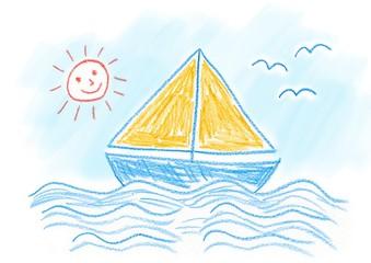 Drawing of sailboat