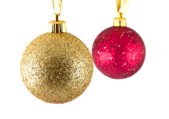 Golden and red christmas balls