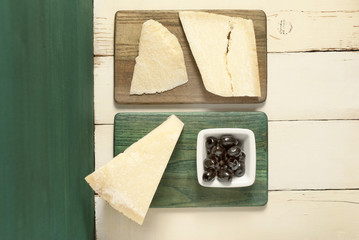 Parmesan cheese, olives