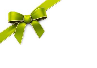 Green silk corner ribbon with golden edges