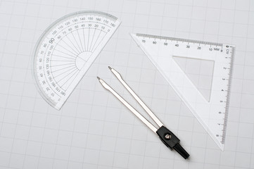 Protractor,dividers and square