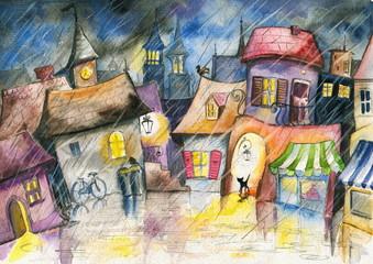 Small town at rain.
